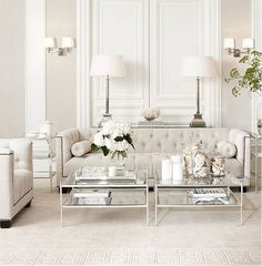 Love the feel of this room. Light and bright with elegance.   Beige White Silver Livingroom by Eichholtz
