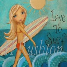 Surfer Girl Art, Surf Decor,Beach Decor,Girls Wall Art, Mixed Media Fine Art Print or by HRushton Beach Wall Art, Art Wall Kids, Surfer Girl Style, Surfer Girls, Surf Decor, Unicorn Art, Collage Artists, Mixed Media Collage, Room Themes