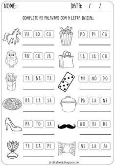 Portuguese Lessons, Learn Portuguese, Kindergarten Math Worksheets, School Worksheets, English Activities, Activities For Kids, Teaching Kids, Education, Learning