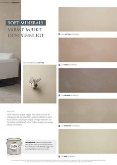 Lady Minerals - kalkmaling by Jotun Dekorativ AS - issuu Best Paint Colors, Wall Colors, Colours, Jotun Lady, Door Design Interior, Colour Pallete, Decorating Blogs, Minimalist Home, Colorful Interiors