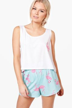 Buy Boohoo Women's Blue Skye Flamingo Print Vest + Short Pjs, starting at £12. Similar products also available. SALE now on!