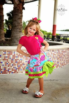Happy Hills Claudia Layer Tiered Twirl Skirt Sewing Kit by AllegroFabrics Sizes 3-8