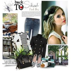 The First Day of School! by thewondersoffashion on Polyvore featuring moda, Marc by Marc Jacobs, Exclusive for Intermix, J Brand, Chiara Ferragni and Karl Lagerfeld