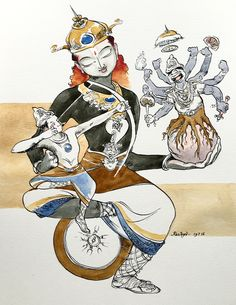 The war within. Dialogue with Arjuna #watercolor #Bhagavadgita