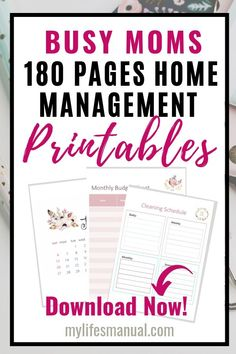 Home Management Binder Printables for productivity and time management. Kids Planner, Planner Tips, Goals Planner, Happy Planner, Home Management Binder, Time Management, Printable Planner, Printables, Mom Schedule