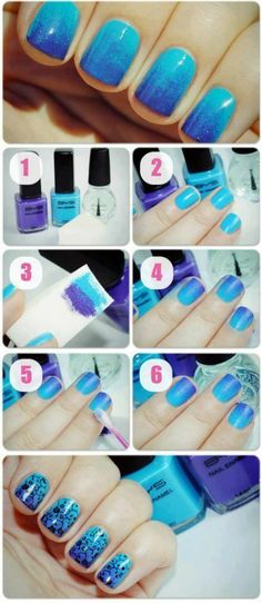 Easy Nail Design - easy make blue nails