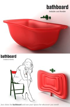 Bathboard for small spaces. This unique, space-saving bathtub was designed by Sy. Bathboard for sm Space Saving Baths, Bath Board, Small Bathtub, Poses References, Cool Inventions, Tiny House Design, Tiny Living, Van Life, Small Spaces