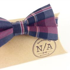 Navy blue and purple plaid bow tie blue burgundy by NACreates