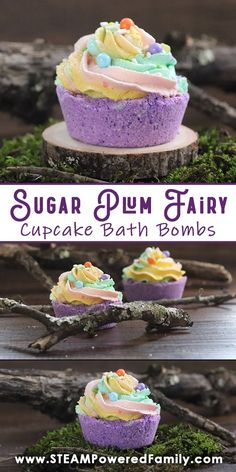 Magical DIY Sugar Plum Fairy Cupcake Bath Bomb Recipe - DIY for teens These magical Sugary Plum Fairy Cupcake Bath Bombs are fun to make and the results are stunning. Perfect for a bit of fairy magic at the end of the day. Fairy Cupcakes, Purple Cupcakes, Cupcake Bath Bombs, Cupcake Soap, Sugar Plum Fairy, Bath Bomb Recipes, Soap Recipes, Whipped Icing, Whipped Soap