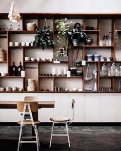 Photo: merchandise shelf on front of kitchen kitchen shelves, bar shelves, kitchen dining Coffee Shop Design, Cafe Design, House Design, Kitchen Shelves, Kitchen Dining, Bar Shelves, Cosy Interior, Interior Design, Retail Shelving