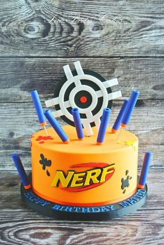 7 WoW this is amazing! I love the bullets and splatters! vcmblog Boys Nerf Birthday Party Cake, Cupcake and Cookie Ideas