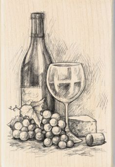 Inkadinkado Mounted Rubber Stamp 4 75 Wine&Cheese is part of pencil-drawings - pencil-drawings Pencil Sketch Drawing, Pencil Art Drawings, Art Drawings Sketches, Drawing Ideas, Shading Drawing, Horse Drawings, Drawing Faces, Drawing Art, Drawing Tips