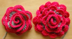 two versions of crocheted flowers. Love