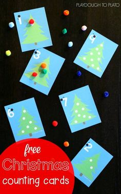 Fun Christmas counting cards! What a great way to practice number writing, counting, one-to-one correspondence and even beginning addition! Awesome holiday activity for preschool.