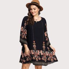 Gender: Women Silhouette: Straight Dresses Length: Above Knee, Mini Style: Casual Brand Name: SheIn Pattern Type: Floral Season: Autumn Decoration: None Sleeve Length(cm): Wrist Neckline: O-Neck Model Number: dress171213455 Waistline: Natural Sleeve Style: Regular Material: Polyester UID: 171208225 Fabric: Fabric has no stretch Season: Spring,S Material: 100% Rayon Color: Black Pattern Type: Floral Decoration: Embroidery