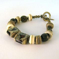 Square Brown Gold Swirl Lampwork Bracelet Handmade Rondelles Antique Brass Beaded Bracelet
