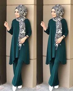 In peacock blue Modern Hijab Fashion, Abaya Fashion, Fashion Wear, Modest Fashion, Fashion Dresses, Hijab Style Dress, Hijab Chic, Hijab Outfit, Iranian Women Fashion