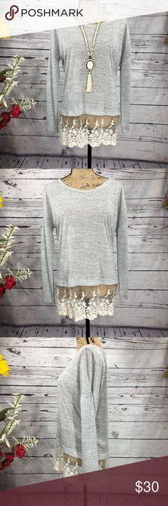 51736b7f45b56 PPLA Heathered Crochet Lace Bottom Sheer Tunic PPLA Heathered Grey Crochet  Bottom Sheer Lightweight Tunic Stunning