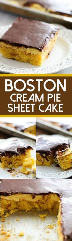 Boston Cream Pie Sheet Cake... A simple and delicious yellow cake with an incredible cream layer and smooth chocolate frosting to top it off! This serves a crowd and will be a huge hit wherever it goes!