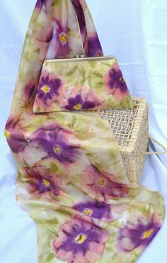Hand painted silk scarf with matching handbag/clutch - one of a kind wearable piece of art (watercolour floral Peach) By Yara Sekiguchi at Etsy.com