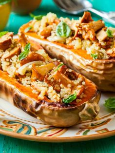 Mushroom and Quinoa Stuffed Squash. *omit the walnuts,  due to allergies*