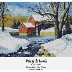 Peisaj de iarna Cross Stitch Kits, Winter, Model, Painting, Design, Embroidery, Painting Art