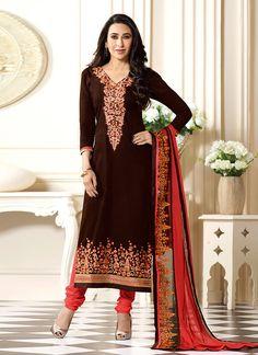 Karisma Kapoor Brown Cotton Churidar Suit 69915