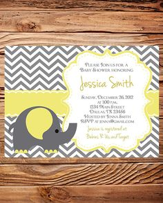 Elephant Baby Shower Invitation, Baby Shower Elephant Invite, BOY, Girl, Gray, Yellow, Purple, baby shower boy, girl, digital, printable. $20.00, via Etsy.