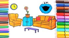 How to Draw Sofa Set   Furniture Coloring Pages for Kids Learn Rainbow C...