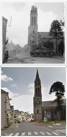Una colonna di blindati  Inglesi attraraversa il villaggio  di Caumont-l'Eventé. Bassa Normandia  #NORMANDIA1944
