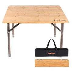 KingCamp Bamboo Folding Table with Carry Bag ISPO Award 4 Fold Heavy Duty Adjustable Height Aluminum Frame Camping Table Camping Places, Camping Glamping, Folding Camping Table, Tent Cot, Bow Cases, Low Chair, Bamboo Table, Cool Tents, Portable Table