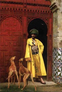 An arab and his dogs, 1875, Jean-Leon Gerome (1824 - 1904), a French painter and sculptor in the style now known as Academicism, his range included historical painting, Greek mythology, Orientalism, portraits and other subjects. He was one of the most important painters from this academic period, he was also a teacher with many students. In 1856, he visited Egypt which was the start of many orientalist paintings depicting Arab religion, genre scenes and North African landscapes.