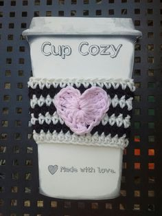 Striped Heart Coffee Tea Cup Cozy Hot Cold by Angelarae63 on Etsy