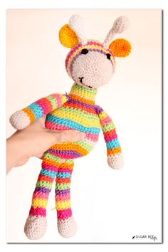 make your own stuffed crochet giraffe - so cute and colorful!! - - Sugar Bee Crafts