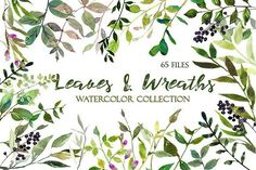 Watercolor Leaves and Wreaths Set by whiteheartdesign on @creativemarket