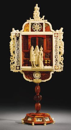 North German, probably Danzig, mirror, red and yellow amber, ivory, mica, mirrored glass and metal foil, on a wood core, within an early 19th-century red velvet-lined wood case, with metal mounts, circa 1690