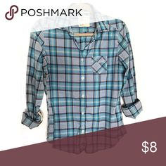 American Eagle Outfitters Plaid Shirt This is for my plaid lovers ! If you love plaid this is for you ! It's in good condition ! American Eagle Outfitters Tops Button Down Shirts