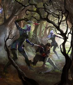 elves | Dark elves Picture (2d, fantasy, forest, dark, elves, warriors, girls)