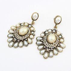 New Retro Antique Gold Pearl Earrings for Women Fashion Vintage Big Crystal Flower Earrings BJ Jewelry Wholesale 2015