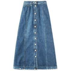 Rachel Comey Gore Denim Skirt (26.385 RUB) ❤ liked on Polyvore featuring skirts, blue, button front skirt, midi skirt, button front midi skirt, knee length denim skirt and blue midi skirts