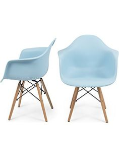 Belleze Mid-Century Modern Eames Style Arm Chairs Retro Molded Shell, Set of (2) -Blue ❤ Belleze