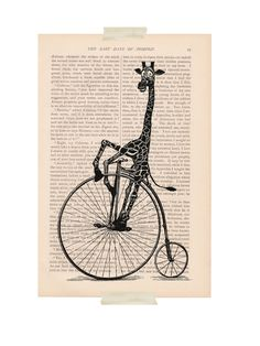 dictionary art vintage GIRAFFE on a BICYCLE print  $9.00, Etsy. ExLibrisJournals
