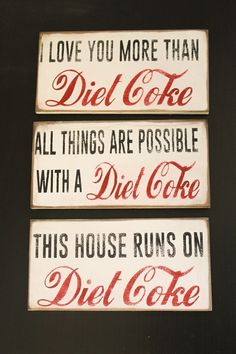 Diet Coke Distressed Signs - 3 Options | Jane