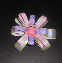 Girls Boutique Hair Bow 60mm French Barrette Clip  Handmade, Pink and Purple Owl Hair Bows, Girls Bows, Hair Barrettes by TrendyCharm on Etsy
