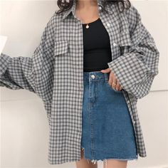 Girl Vintage Outfits, Retro Outfits, Cute Casual Outfits, Plaid Outfits, 80s Style Outfits, Korean Casual Outfits, Casual Clothes, Casual Style Women, Cheap Outfits