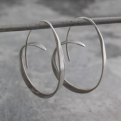 Tapered Sterling Silver Hoops