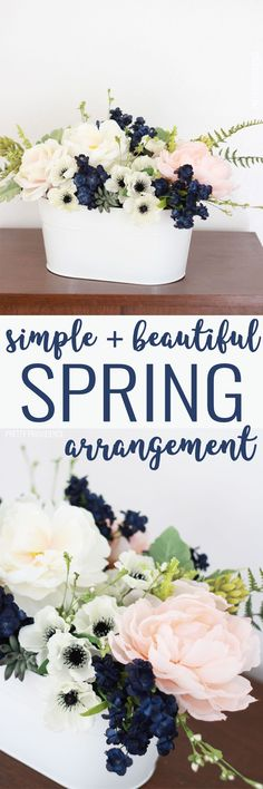 This easy flower arrangement is SO pretty! Perfect light pink and navy color combo!