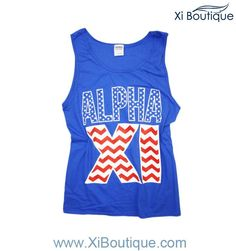 All Xi Boutique Tanks are on sale today!! (4/30)  Alpha Xi Chevron America Tank