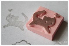 Lovely Kitty Hand Carved Rubber Stamp