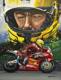 Joey Dunlop limited edition print from original painting by Greg Tillett.Title: King of the signed and numbered by the artist size high quality print on paper(UNFRAMED)Each print comes with a certificate of authenticity.Dispatched in a card board tube. Flat Track Motorcycle, Motorcycle Racers, Motorcycle Art, Racing Motorcycles, Xjr 1300, Bike Illustration, Speed Art, Valentino Rossi, Road Racing